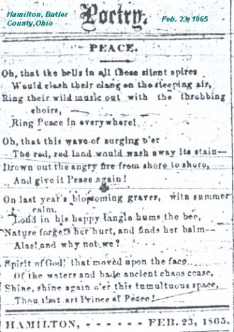 Peace Poetry from 1865