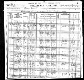 Hourigan 1900 census record, Indiana