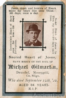 Michael Gilmartin Funeral Card