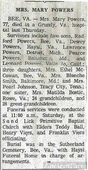 Mary (Deel) Powers Obituary