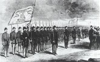 Lucy Holcombe Pickens reviewing the 1st South Caroline Infantry regiment and recieving the flag