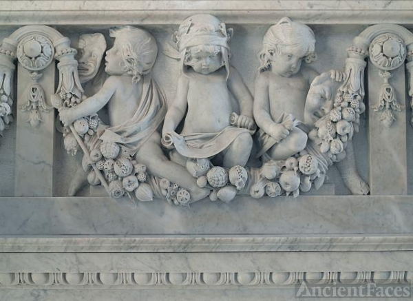 [Great Hall. Detail of cherubs representing the literary...