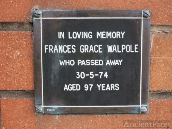 Frances Grace Walpole memorial