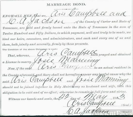Marriage Bond Josie Manning & Aris P. Campbell