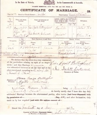Eric Cyril Billinghurst marriage certificate