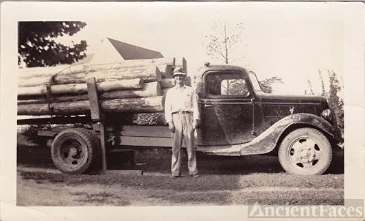 Pat Haynes with logging truck