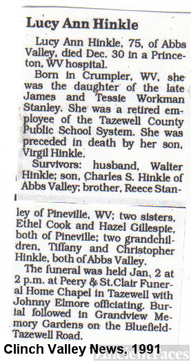 Obit of Lucy A. Hinkle