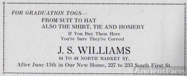 J.S. Williams Clothing Store Advertisment