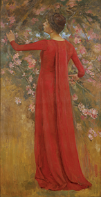 Fig. 3: Theodore Robinson (1852-1896) The Red Gown (His Favorite Model), ca. 1885 Oil on canvas, 75-1/2 x 38-1/2 inches Courtesy Spanierman Gallery, New York.