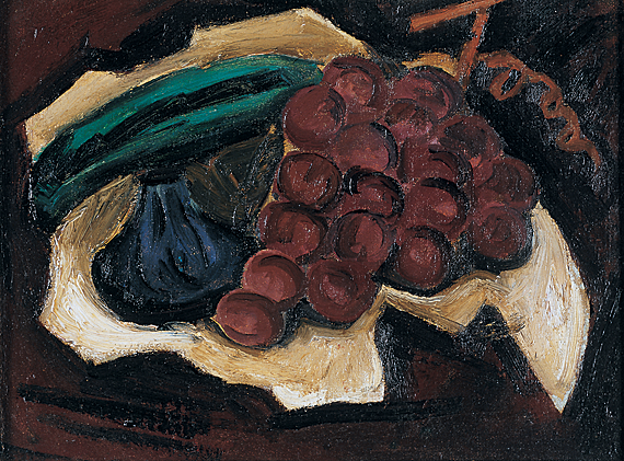 "Fig. 4: Marsden Hartley (1877-1943), Grapes, ca. 1923. Oil on canvas, 10-1/4 x 13-3/8 inches. Inscribed on back of canvas: ""This painting by Marsden Hartley / is listed with the American Art / Research Council of the Whitney / Museum. / Carl Sprinchorn / Sept. 1950."" Titled on stretcher bar: ""GRAPES"" Courtesy Brock & Co., Carlisle, MA."