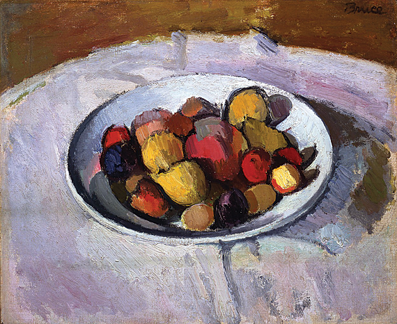 "Fig. 2: Patrick Henry Bruce (1881-1936), Still Life with Plate of Fruit, ca. 1911-12. Oil on canvas, 10-5/8 x 13-3/4 inches. Signed lower left: ""Bruce."" Courtesy Gerald Peters Gallery, New York."