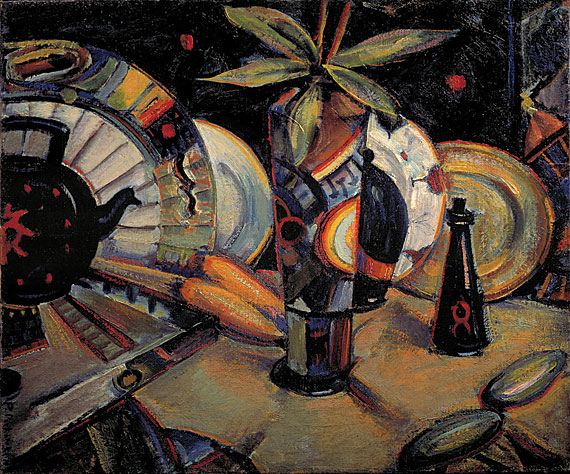 "Fig. 8: Preston Dickinson (1891-1930), Still Life (Vase, Kettle, and Fruit), 1918. Oil on canvas, 20-1/8 x 24-1/8 inches. Signed vertically, lower left: ""P. Dickinson."" Estate stamp on stretcher. Courtesy Gerald Peters Gallery, New York."