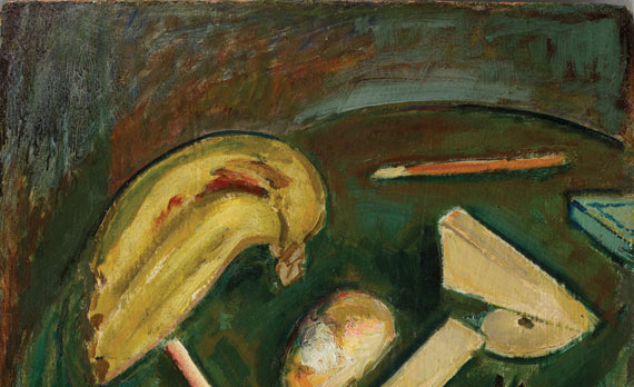 "Fig. 6: Alfred H. Maurer (1868-1932), Still Life, ca. 1919. Oil on gessoed panel, 21-1/2 x 17-3/4 inches. Inscribed lower right: ""A H Maurer."" Courtesy Spanierman Gallery, LLC, New York."