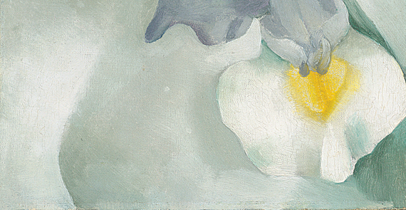 "Fig. 10: Georgia O'Keeffe (1887-1986), Pink Daisy with Iris, 1927. Oil on canvasboard, 9-3/4 x 5-7/8 inches. Signed and dated verso: ""Georgia O'Keeffe/March-1927."" Courtesy Spanierman Gallery, LLC, New York."