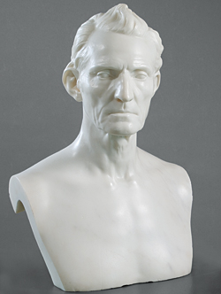 Fig. 5: Judge Jacob Burnet (1770-1853). Modeled August 1837, carved 1842. Marble. H. 20, W. 14-1/2, D. 12 in. University of Cincinnati Fine Arts Collection. Gift of Duncan Burnet, 1949.3. Photography by Jay Yocis, ©2007 University of Cincinnati.