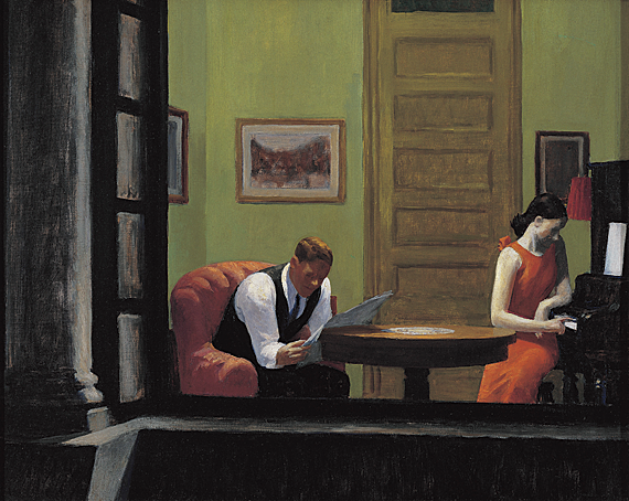 Room in New York, 1932. Oil on canvas, 29 x 36 inches. Sheldon Memorial Art Gallery and Sculpture Garden, University of Nebraska-Lincoln. UNL–F. M. Hall Collection.