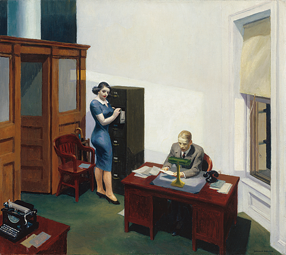 Office at Night, 1940. Oil on canvas, 22-3/16 x 25-1/8 inches. Collection Walker Art Center, Minneapolis. Gift of the T. B. Walker Foundation, Gilbert M. Walker Fund, 1948. 1948.21