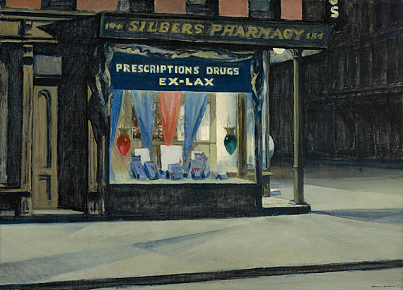 Drugstore, 1927. Oil on canvas. 29 x 40 inches. Museum of Fine Arts, Boston. Bequest of John T. Spaulding 48.564.