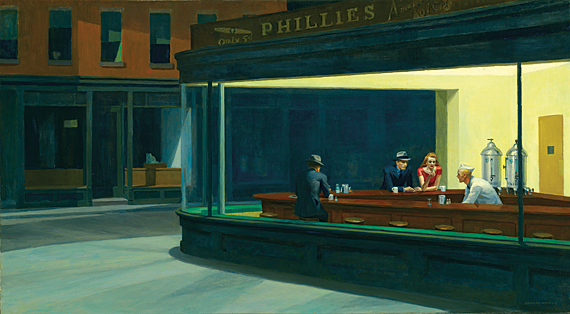 Nighthawks, 1942. Oil on canvas, 33-1/8 x 60 inches. The Art Institute of Chicago. Friends of American Art Collection, 1942.51.