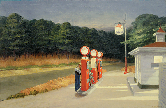 Gas, 1940. Oil on canvas, 26-1/4 x 40-1/4 inches. The Museum of Modern Art, New York. Mrs. Simon Guggenheim Fund.