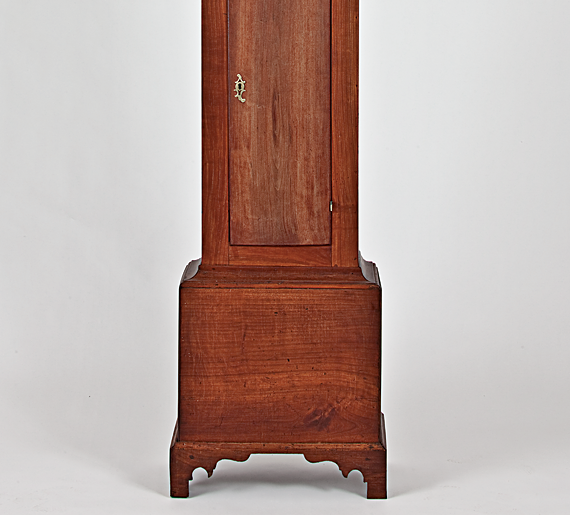 "Tall-case clock by Walter Folger Jr. (1765–1849),ca. 1785–90 Cherry case, brass movement and dial, H. 84-5/8, W. 19, D. 9-3/4 inches Inscription ""Walter Folger Jur/NANTUCKET"" engraved on disk (1993.38.1)"