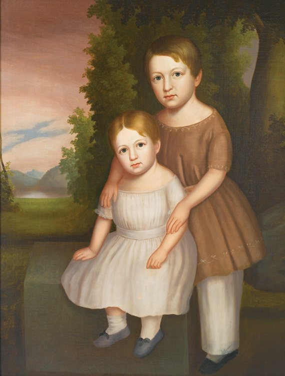 "James Hathaway (fl. 1839–1850/52) Levi Starbuck Coffin and Eunice Coffin, 1847 Oil on canvas, 38 x 30 inches Inscription on reverse: ""Levi Starbuck Coffin Aged 3 yrs 6 mo 1847/Eunice Coffin Aged 1 yr 1847."" (1999.30.1)"