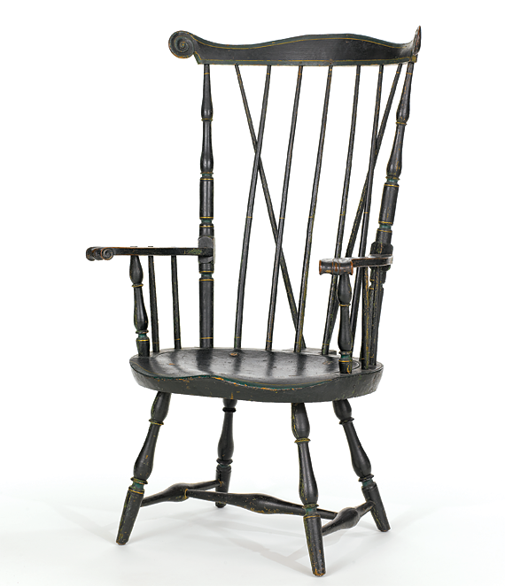 """High fan-back Windsor armchair Frederick Slade (1777–1800), Nantucket, 1799 Maple, oak, white pine, yellow poplar, paint H. 43, W. 24-1/2, SD. 16-1/2 (without extension for brace), SH. 15-1/2 inches Handwritten inscription on label beneath seat reads: """"This Chair was made by/Frederick Slade in Nantucket/in 1799."""" (1999.30.3)"""