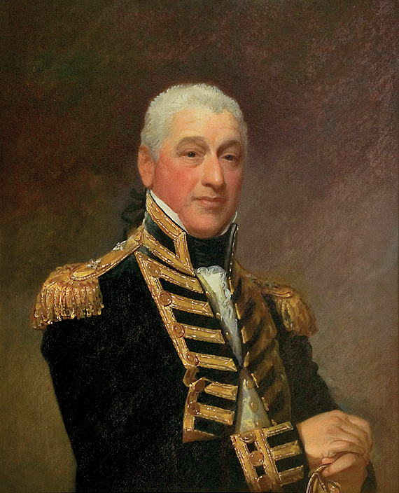 Gilbert Stuart (1755–1828) Admiral Sir Isaac Coffin (1759–1839), circa 1810 Oil on scored panel, 33 x 26-1/2 inches Gift in memory of Tucker Gosnell, with a partial gift of Catherine C. Lastavica, M.D. (2005.4.1)