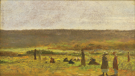 Eastman Johnson (1824–1906) In the Fields (Study for The Cranberry Harvest, Island of Nantucket), ca. 1878–1879 Oil on panel, 19-3/4 x 27 inches (1998.23.1)