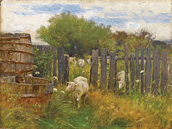 """George Inness (1825–94) Back of Nichols' Barn, 'Sconset, 1883 Oil on board, 22 x 27 inches Inscription """"G. Inness 'Sconset 1883"""" lower right corner (2011.16.1)"""