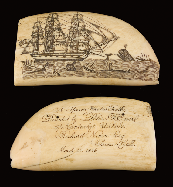 "Sperm whale tooth Edward Burdett (1805–1833), ca. mid-1820s Ivory, 5-1/8 x 2-5/8 inches. Inscription on reverse, added later, reads: ""A Sperm Whales Tooth/Presented by Peter F. Ewer/ of Nantucket U.S.A./to/Richard Niven Esq./Chrome Hall./March 15, 1846."" (1989.126.4)."