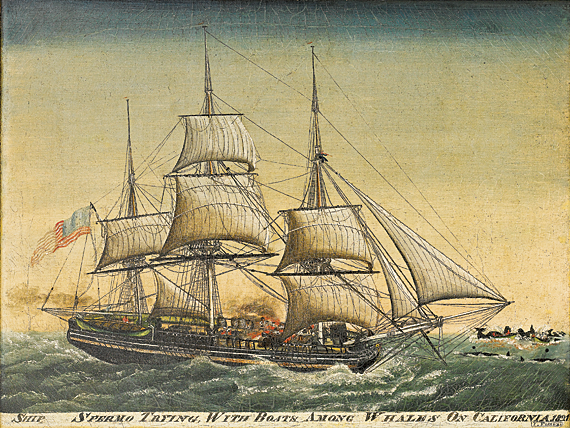 """John Fisher (b. 1789) Ship Spermo Trying With Boats Among Whales On California, 1821 Oil on canvas, 18-3/4 x 24-3/4 inches Inscription """"J. Fisher"""" lower right corner (2008.31.1)"""