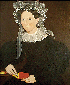 Portrait of Elizabeth Mygans by Ammi Phillips, circa 1835-40.