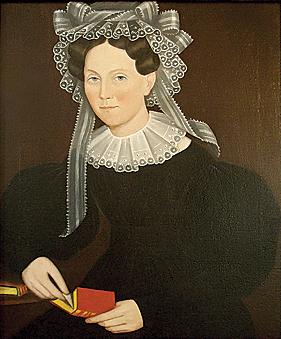 Portrait of Elizabeth Mygans by Ammi Phillips, circa 1835-40.