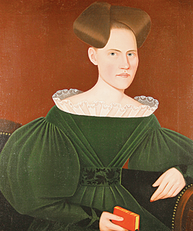 The superb Phillips portrait above the mantelpiece is of Helen Lena Ten Broeck (1803-1839) and is inscribed by the artist with her name and the date, 1834. She is seated on a black Federal sofa with brass upholstery tacks, a frequent prop for the artist, and wears a remarkably tactile green velvet dress embroidered with black leaf and vine decoration on her belt and cuffs and which has finely detailed translucent white lace on its collar. She holds a red book, the color of which heightens the visual drama of the work, complementary colors emphasizing each other in opposition. The painting has a deep mahogany colored background, against which the sitter stands out in sharp relief, rhythmically outlined. Her pale face  is luminous beneath the exaggerated  rolls of her hair. The painting is in its original dark green-painted frame with a raised painted yellow edge.