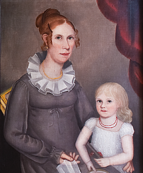 In the hall and opposite the Maentel family group hang two portraits by Ammi Phillips, that of a Mrs. Robinson, circa 1819 (not seen here), and a portrait of Mrs. William Northrop Bentley and her daughter, Louisa, painted circa 1815-1818. Few double portraits by Phillips have been found, and the daughter holding a slice of watermelon is a show stopper. Louisa was an adult when her husband, Edwin Griggs, ran off to join the Gold Rush in 1848; she never saw him again. It is details like this that make the portraits more personal and draw the wife to them, each becoming part of an extended family.