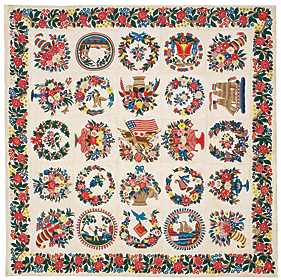 In the stairway hangs an appliquéd Baltimore Album Quilt, 1848-1852, by Elizabeth MacCullough Hervey. Of the twenty-five blocks, three within rings are unique to this otherwise classic quilt, and the image of the fisherman is unknown in any other example.