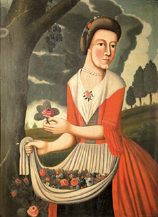 Portrait of Catherine Clinton Heston by her husband, Isaac Heston, circa 1774.