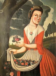 Portrait of Catherine Clinton Heston by her husband, Isaac Heston, circa 1774.
