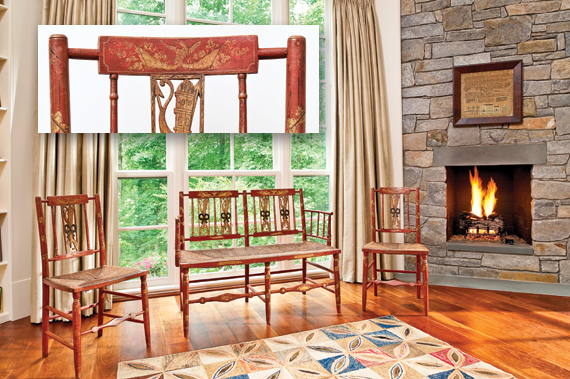 The suite of paint-decorated seating furniture in the master bedroom includes two side chairs and a small settee that are in remarkable original condition. While painted chairs were made in many urban centers, these most resemble those from Portsmouth, N.H, circa 1810. The American geometric hooked wool floor rug dates to the late nineteenth century.