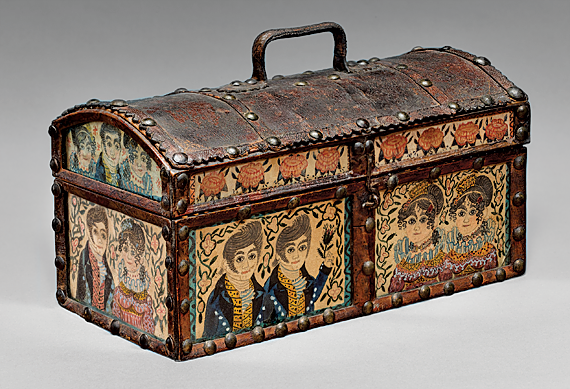 Dome-top box with inset watercolor panels, attributed to Emeline M. Robinson Kelley School Portsmouth, N.H., ca. 1824–1833 White pine, leather, brass-headed tacks, watercolor and ink on paper panels under glass, brass wire hinges H. 3-7/8, W. 7-7/8, D. 4-1/8 in.