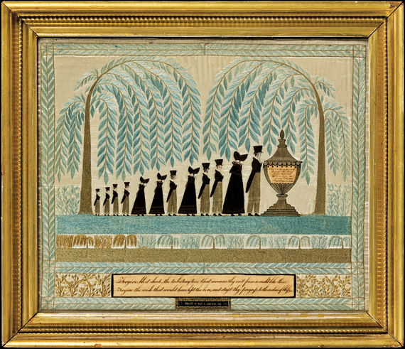 Memorial to Enoch H. Long, Mary B. Danforth (1807–1848) Probably Manchester, Mass., 1823 Silk embroidery and watercolor on silk satin, ink on paper, leather die-stamped with gold 16-1/4 x 19-3/8 inches, with original gilt frame