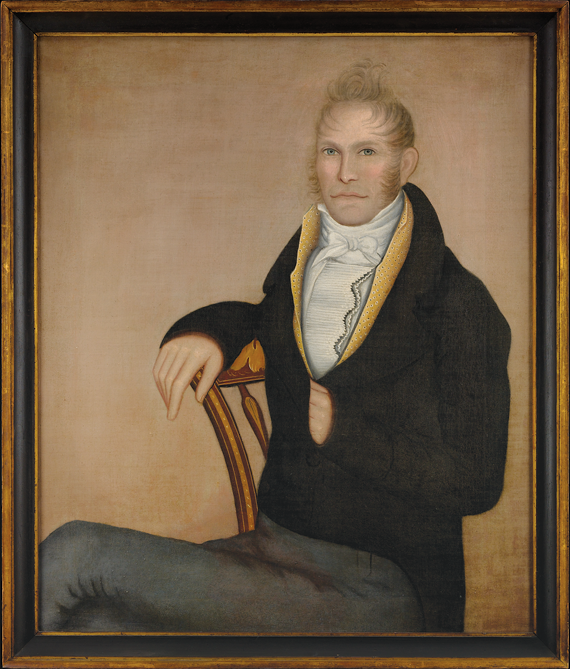 Portrait of Milton Dorr Attributed to Ammi Phillips (1788–1865), Hoosick Falls, N.Y., ca. 1814–1815 Oil on canvas, 40 x 33 inches, with original painted and gilt frame