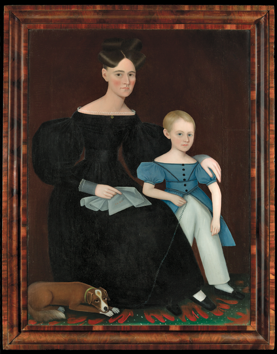 Portrait of Rachel Ann Maria (Overbaugh) Ostrander and Titus Ostrander Attributed to Ammi Phillips (1788–1868) Saugerties, N.Y., ca. 1834–1835 Oil on canvas, 58 x 44 inches, with original veneered frame
