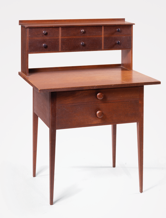 Sister's desk, attributed to Orren N. Haskins (1815–1892) New Lebanon, N.Y., ca. 1865–1874 Walnut, cherry, white pine, and poplar, original dark brown tinted resin-based finish, turned cherry knobs H. 42-1/2, W. 32-1/2, D. 22-3/4 in.
