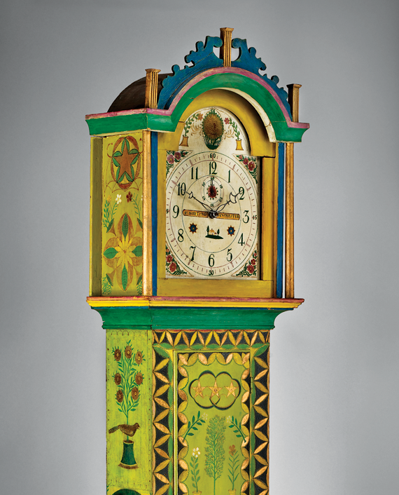 "Tall-case clock, New England, ca. 1830 Decoration attributed to George Robert Lawton Sr. (1813–1885), Scituate, Providence County, R.I., ca. 1883 White pine, 30-hour wooden movement, iron hinges and lock, lead pendulum bob H. 85, W. 17-3/4, D. 9-1/4 in. Inscribed on dial: ""R. Whiting/Winchester""; Stamped on inside of door: ""Mary L. Sprague"""