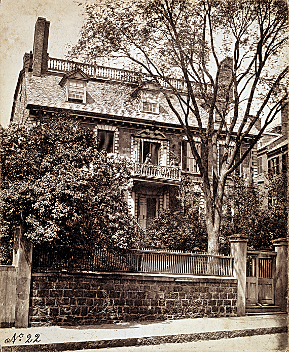 Fig. 1: John Hancock House, 1737, Beacon Street, Boston, Massachusetts. Razed in 1863.