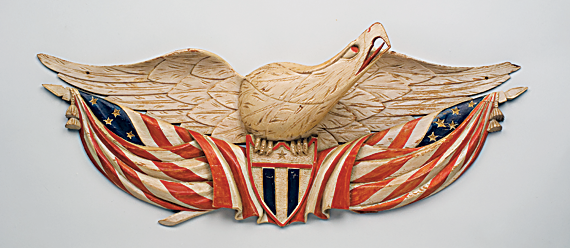 John Haley Bellamy (1836–1914) Eagle plaque Carved pine and paint. H. 9, L. 24-1/2 in.