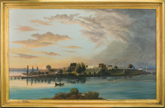 Timothy Merritt Newhall (1840–1911) Salter's Island, Portsmouth Harbor, Portsmouth, NH Oil on canvas, 30 x 48-1/2 inches