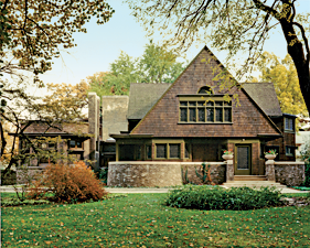 Fig. 2a: Frank Lloyd Wright's (1867–1959) home and studio, west façade, Oak Park, Illinois, 1889–1898. Courtesy, Frank Lloyd Wright Preservation Trust; photography by Don Kalec.